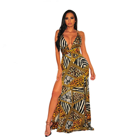 Backless Leopard High Split Flare Bottom Dress - BoujichickFashions