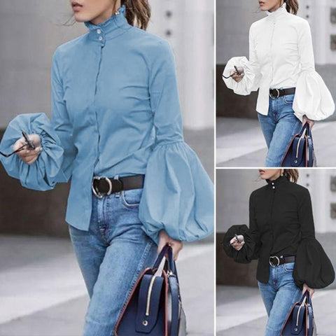 Button Down and Wide Lantern Sleeve High Collar Blouse
