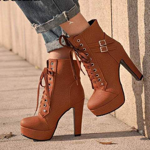 Ankle Lace Up Buckle Accented Boots - BoujichickFashions
