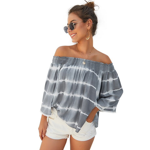 Autumn Style Off The Shoulder Nine Sleeve Blouse - BoujichickFashions