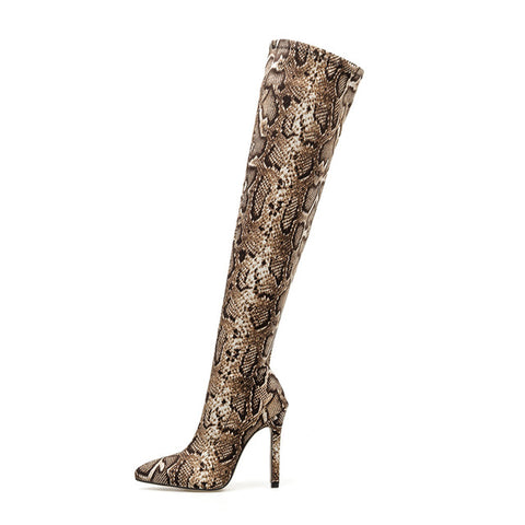 Over The Knee Suede Snake Stiletto Boots - BoujichickFashions