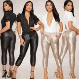 Sequined Calf-length Pencil Pants - BoujichickFashions