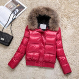Genuine Raccoon Fur and White Duck Down Parkas  Hooded Jacket - BoujichickFashions