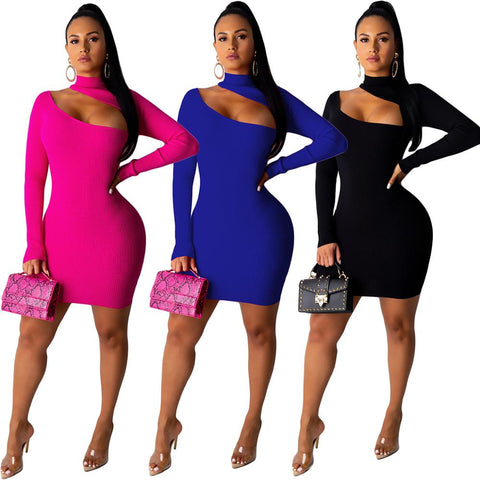 Cut-Out Shoulder Long Sleeve Mini Dress - BoujichickFashions