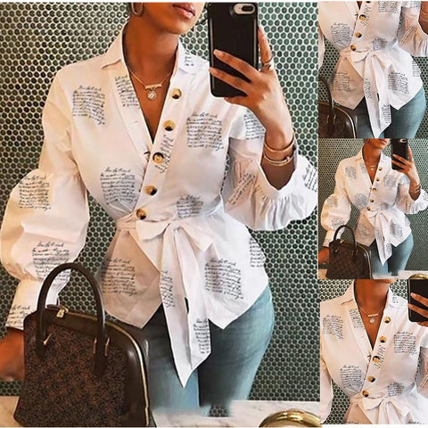 Long Sleeve V Neck Bandage Style Blouse - BoujichickFashions