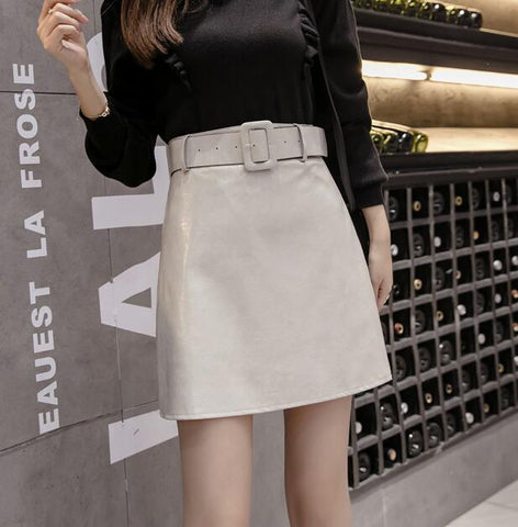 Faux Leather Skirt With Belt - BoujichickFashions