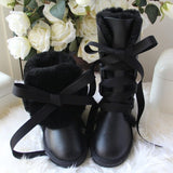 Genuine  Wool and Leather Front Lace Boot - BoujichickFashions