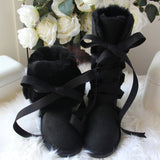 Genuine  Wool and Leather Front Lace Boot