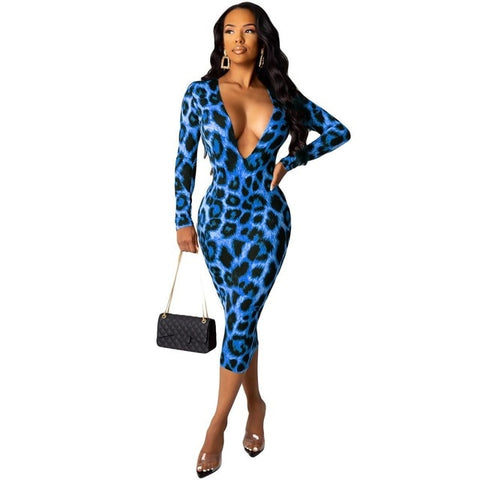 Deep V-Neck Midi Leopard Print Dress - BoujichickFashions