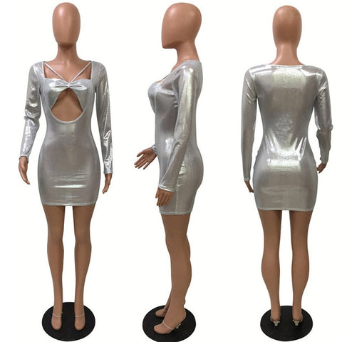 Glitter Accented Mid Drift Cut Out Long Sleeve  Dress - BoujichickFashions