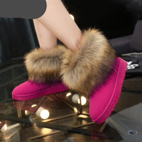 Faux Fur Trim Ankle Boots
