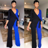 Long Sleeve Double Block Wide Leg Jumpsuit - BoujichickFashions