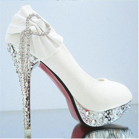 Elegant Rhinestone With Large Side Bow Stilettos - BoujichickFashions