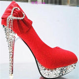 Elegant Rhinestone and Bow Embedded Thin Heel Stilettos - BoujichickFashions