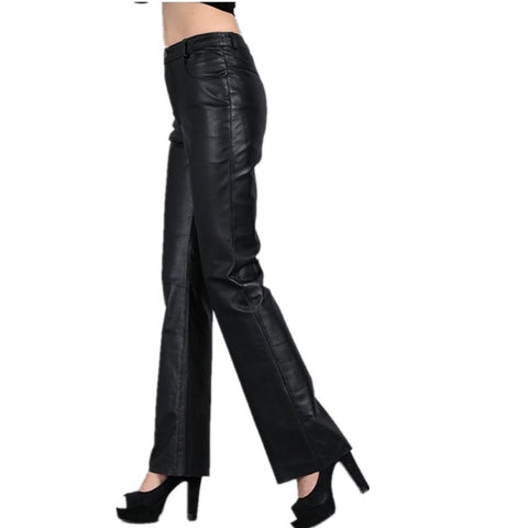 100% Genuine Leather Mid Waist  Pant - BoujichickFashions
