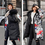Faux Fur Collar Feather Hooded Down Coat