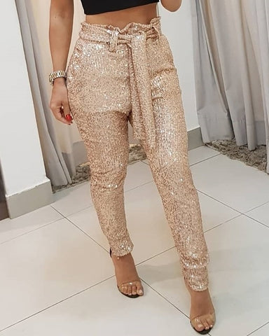 Belted Sequin Pencil Pant - BoujichickFashions