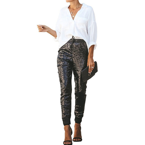 Celebrity Styled High Waist PU Leather and Sequin Pencil Pant - BoujichickFashions