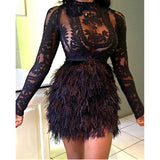 Daring See Through Lace Top With Faux Fur Skirt Set