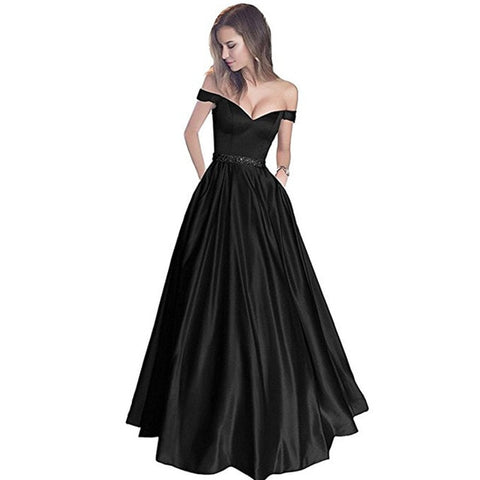 Off Shoulder Backless Sleeveless Gowns