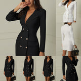 Double Breasted Pocket Blazer Dress - BoujichickFashions