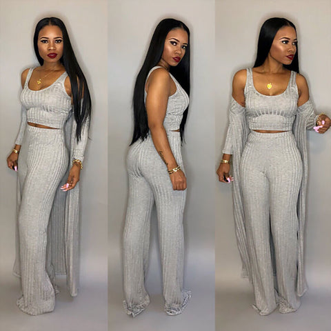 3 Piece Duster, Crop Top and Wide Leg Matching Pant Set - BoujichickFashions