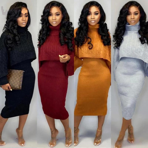 2 Piece Flare Top Mini Skirt Set - BoujichickFashions
