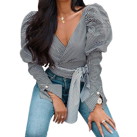 Fall/winter Puff Sleeve Striped V-neck Blouse - BoujichickFashions