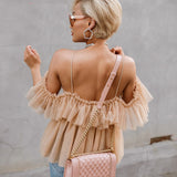 Deep V-neck Backless Ruffled Vintage Blouse - BoujichickFashions