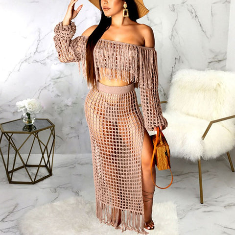 2 Piece Hollowed Crochet and Tassel  Skirt Knit Set