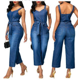 Belted Faux Denim Romper - BoujichickFashions