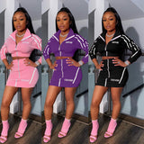 2 Piece  Zipper and Striped Sporty Skirt Set - BoujichickFashions