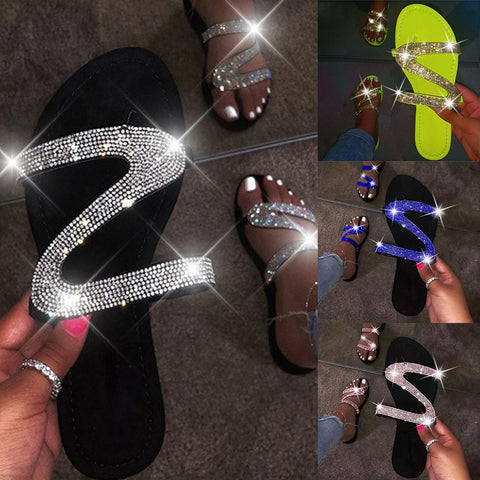 Flat Blinged Out Flip Flops - BoujichickFashions