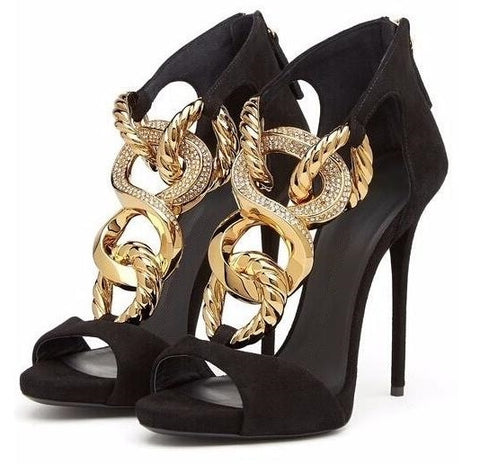 Open Toe with Chain Accent Luxury Style Stilettos - BoujichickFashions