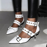 Exaggerated Pointy Toe Multi-Buckle Pumps - BoujichickFashions