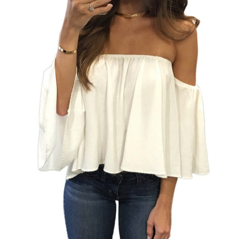 Off Shoulder Strapless Bell Puff Sleeve Blouse - BoujichickFashions