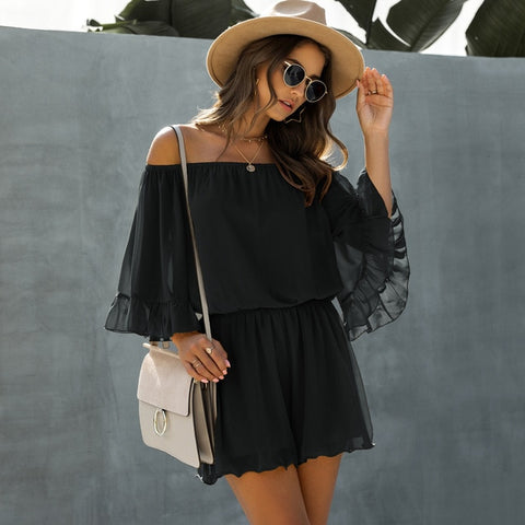 Chiffon Ruffle Off-the-Shoulder Romper - BoujichickFashions