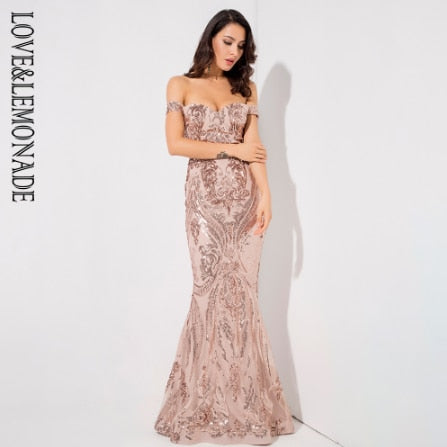 Off the Shoulder Sequins Gown