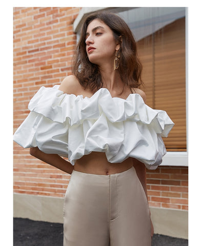 Off Shoulder Crop High Luxury Blouse