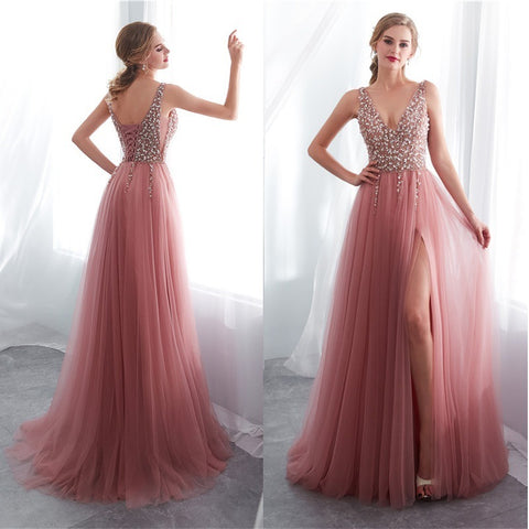 Backless and Sleeveless Deep V-neck Gown