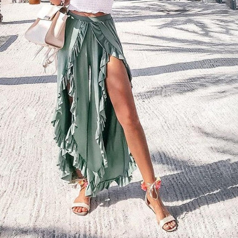Wide-Leg Culottes With Ruffle Splits