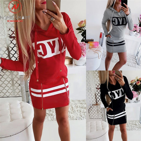 Hooded Zipper O-Neck Long Sleeve Letter Print Mini Dress
