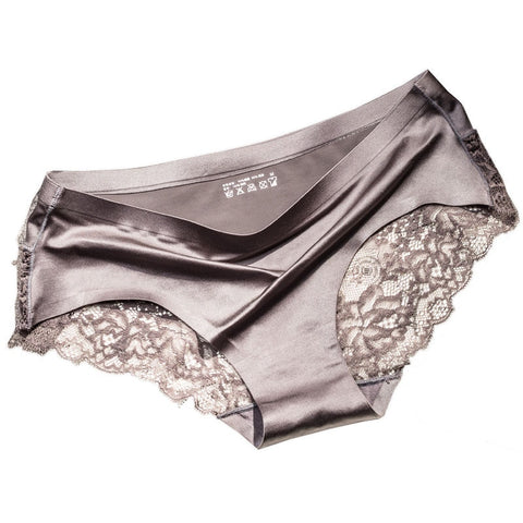 Seamless Brief Style Low-Rise Silk Panties