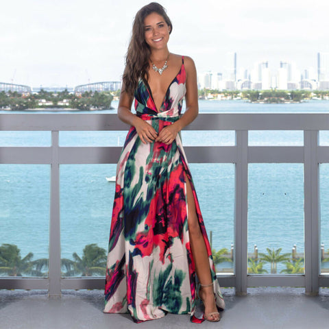 Floral Long V-Neck Sleeveless  Maxi Dress