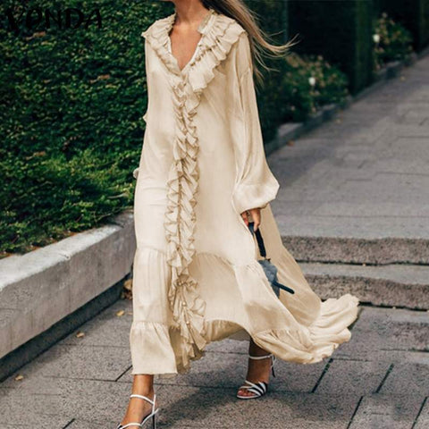 Long Sleeve Ruffles V Neck Long Pleated Dress