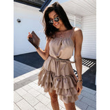 Spaghetti Strap Cascading Ruffled Mini Dress