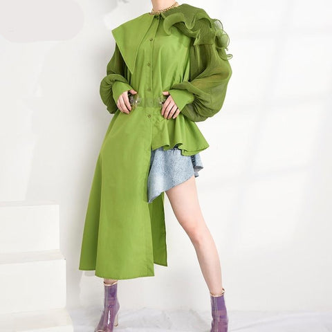 Asymmetrical Pleated Long Sleeve Long Exaggerated Blouse