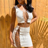 Chain Bandage Cross Lace Crop Top Mini Skirt Set