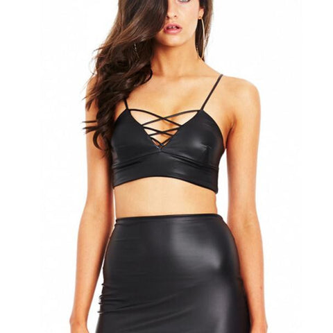 Women Tank Top Bustier Bra in Leather - BoujichickFashions