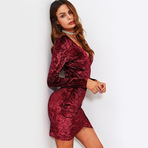 Crushed Velvet Sexy Ruched Overlap Wrap Party Elegant Mini Dress - BoujichickFashions